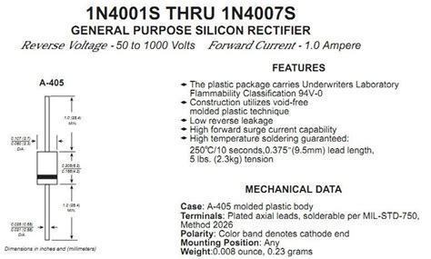 rectifier diode specs 1 1000v rectifier diode 1n4007 through dip a 405 view diode 1n4007 jqc product details