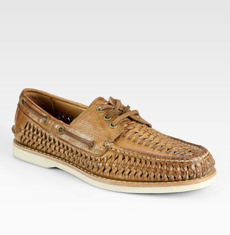 frye boat shoes review frye sully woven boat shoes in brown for men tan lyst