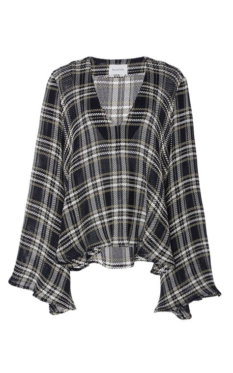 V Neck Plaid Sweater calypso v neck plaid sweater by beaufille moda operandi