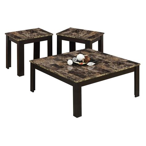 3 Piece Faux Marble Top Coffee Table Set In Cappuccino I 3 Coffee Table Sets