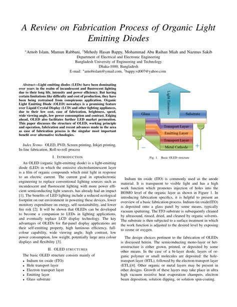what is an organic light emitting diode a review on fabrication process of organic light emitting diodes pdf available