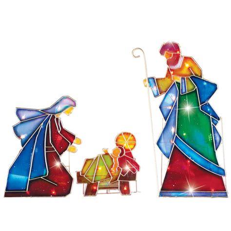 3 pc holographic lighted christmas outdoor nativity scene set lighted outdoor mosaic nativity 3 pc arch bethlehem glass cross stake ebay