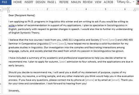 Sle Letter Of Recommendation To Get Into College Letter Requesting Graduate School Recommendation Sle For Word