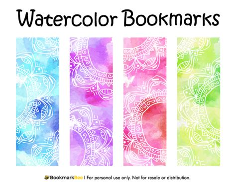 printable bookmarks design free printable watercolor bookmarks download the pdf