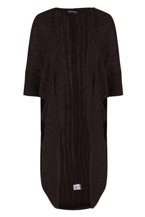 Cardigan Longs List Rib rib knitted open cocoon cardigan batwing