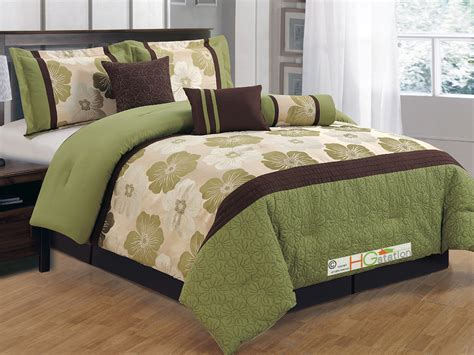 7 quilted jacquard flower stripe comforter set sage green