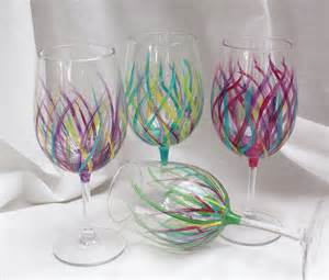Painted Wine Glasses Affordable Handpainted Wine Glasses Wedding By