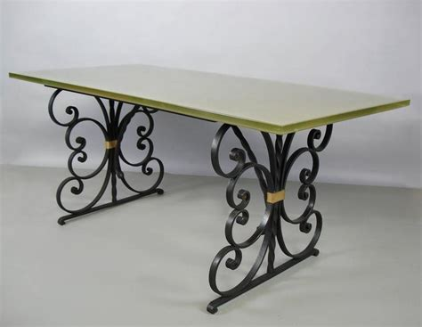 Glass And Wrought Iron Dining Table 1940s Wrought Iron And Glass Top Dining Table At 1stdibs