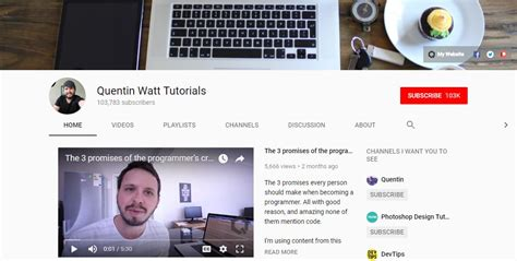 javascript tutorial quentin watt 14 best youtube channels for web developer on air code