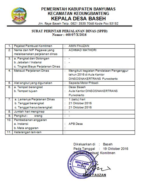 Sppd Contoh by Contoh Surat Perintah Perjalanan Dinas Sppd