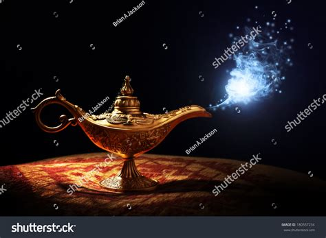 magic lamp story aladdin genie appearing stock photo