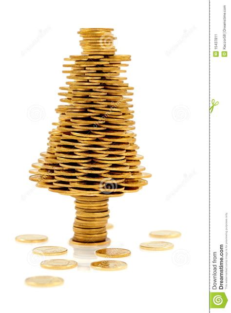 happiest christmastree happy tree made of gold coins stock image image 15437811