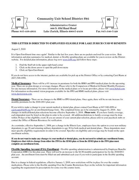 Insurance Benefits Letter Sle Open Enrollment Letter The Best Letter Sle