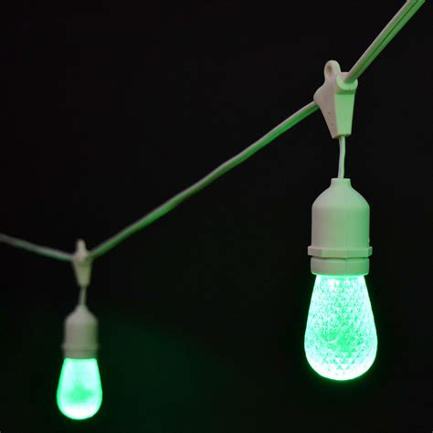 Green Faceted Led Commercial String Lights 21 White Cord Industrial String Lights