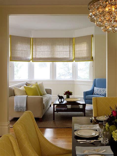 gray  yellow roman shades contemporary living room