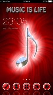 mobile themes music download red music note free android theme htc theme