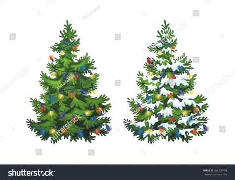 white fluffy christmas trees vector illustration decorated tree snow stock vector 346370108