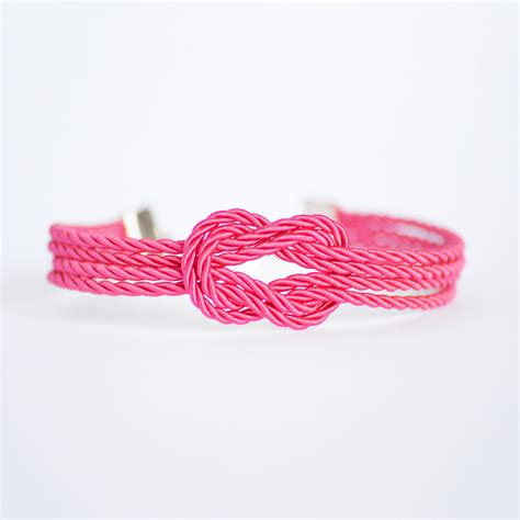pink rose forever knot nautical rope bracelet with silver