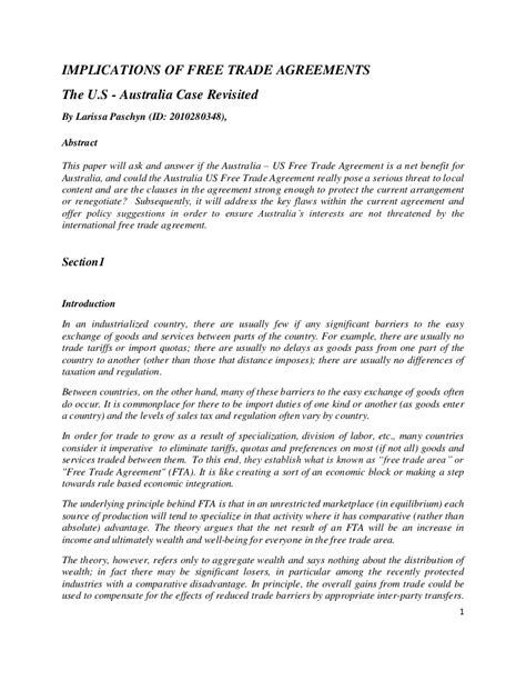 2 Term Paper by Trade Agreement Usa And Republic Term Paper