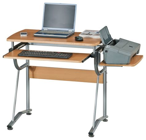 Laptop And Printer Desk Narrow Computer Desk Wood With Printer Shelf And Slide Out Keyboard Shelf Minimalist Desk