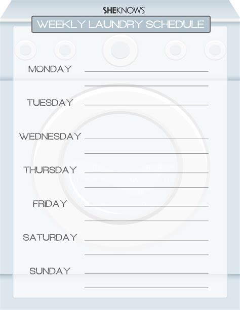 3 Helpful Printables For Scheduling Laundry And Chores Laundry Schedule Template