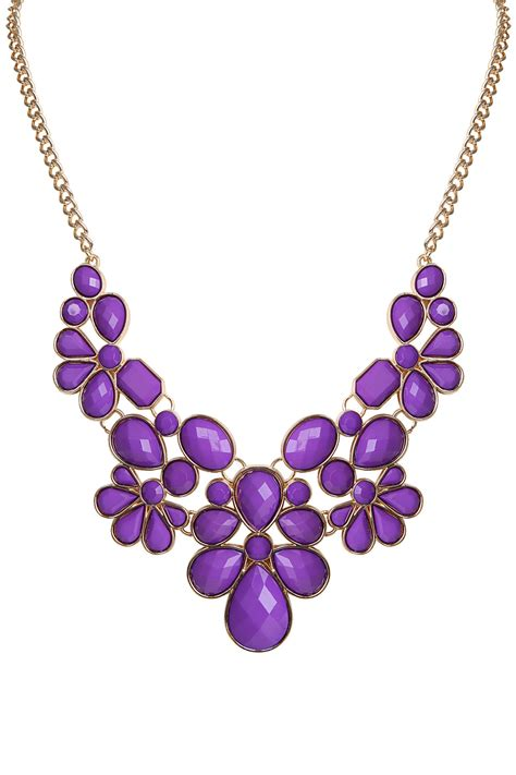 purple beaded necklace purple gold beaded statement necklace