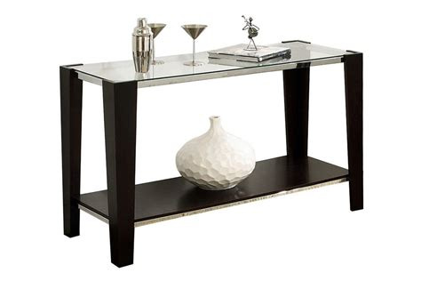 espresso glass top sofa table