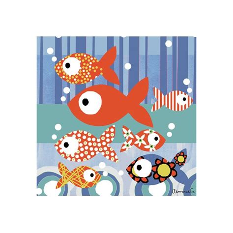 tableaux chambre enfant tableau enfant les petits poissons