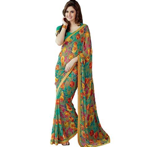 flower design sarees embroidered floral printed designer georgette saree