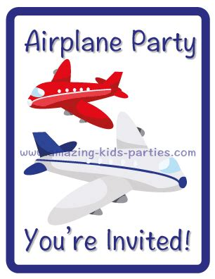 Kid Party Airplane Party Theme Airplane Birthday Invitation Template