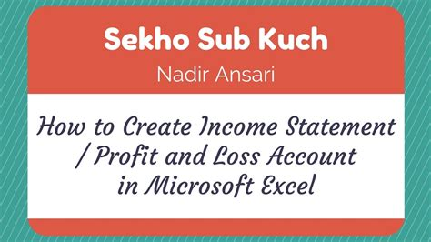 how to create income statement profit and loss account