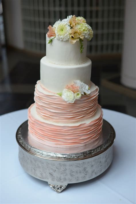 peach ombre wedding cake ombr 233 peach smooth ruffle four tier wedding cake with