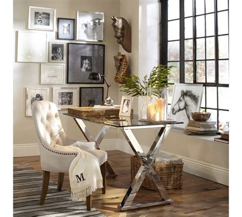 gorgeous office space polished nickel x base desk horse sketches iron