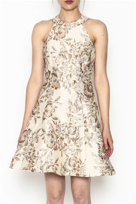 Brocade Flower Dress Mini Dress dress the population floral brocade dress from avalon by tiger shoptiques