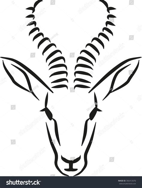 springbok head caligraphy style stock vector 366412676