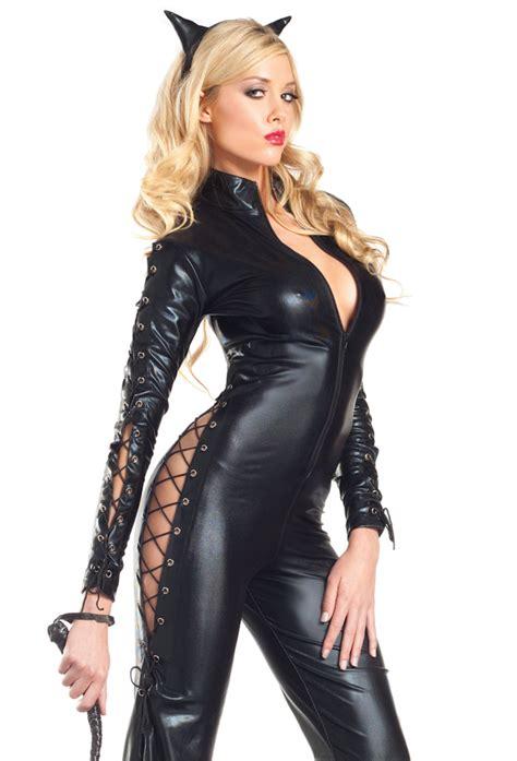 sexy black cat dominatrix bodysuit costume
