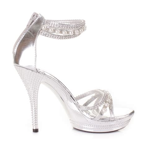 silver prom high heels womens high heel silver diamante pearl ankle wedding