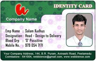 employee id card template id card coimbatore ph 97905 47171 september 2012