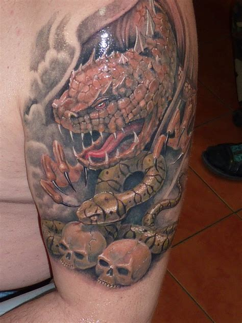 rattle snake tattoo thigh for men and women