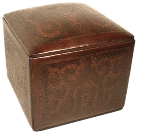 tooled leather ottoman tooled leather large square ottoman with classic stitch in