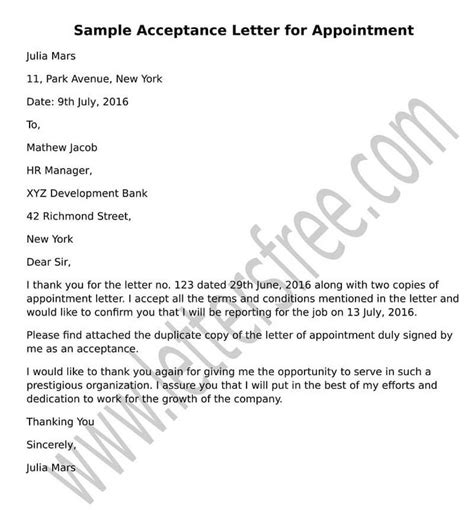 appointment letter acceptance 8 best sle acceptance letters images on