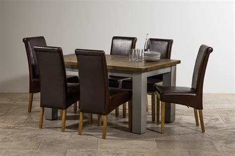 clermont painted sawn oak 5x3 table and 6 leather chairs