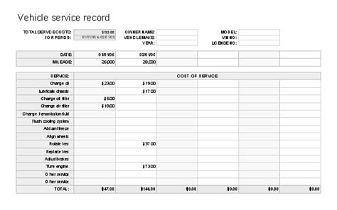 car service record template maintenance log format log templates