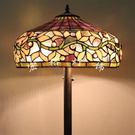 Upscale American Tiffany Stained Glass Floor L Shade
