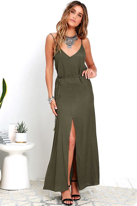olive green dress maxi dress sleeveless dress