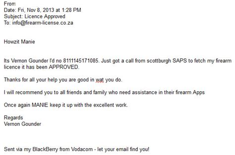 Gun Licence Motivation Letter Exle Testimonials 2013 Firearm License Co Za