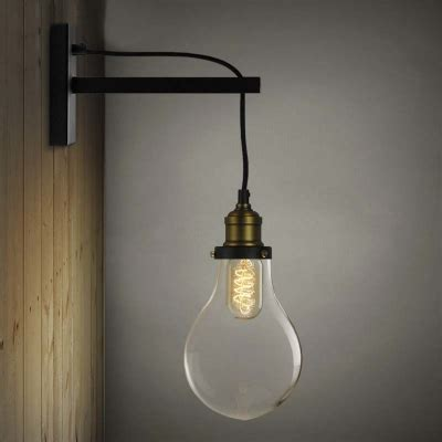 Edison Bulb Wall Sconce Simple Edison Bulb Style 1 Light Indoor Hallway Led Wall Sconce In Black Beautifulhalo