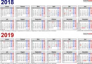 Kalender 2018 Und 2019 Zweijahreskalender 2018 2019 Als Word Vorlagen Zum