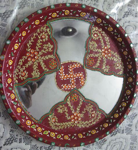 decorative aarti thali online shop washable decorative pooja thali swastik design