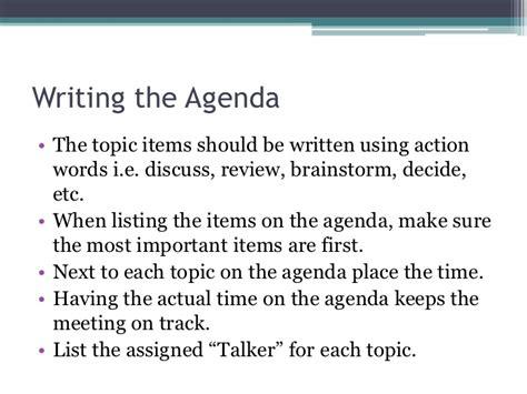 preparing an effective agenda